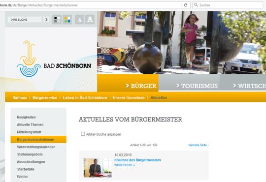 Screenshot der Seite www.bad-schoenborn.de/de/B%C3%BCrger/Aktuelles/B%C3%BCrgermeisterkolumnevon