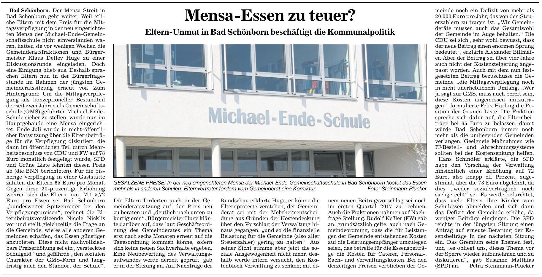 BNN Bruchsaler Rundschau 22.10.2016 Mensa-Essen zu teuer?
